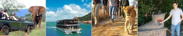 Safaris, boat rides, lion walk or museums are available